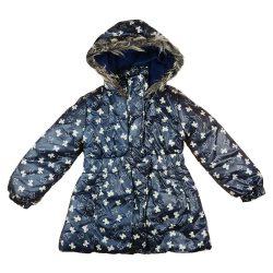Masni mintás bélelt kapucnis lányka téli kabát