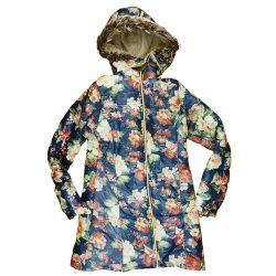 Virágos  kapucnis  lányka télikabát