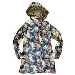 Virágos| kapucnis| lányka télikabát