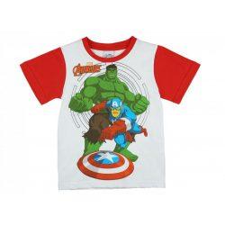 Avengers-Bosszúállók fiú rövid ujjú póló fehér/piros