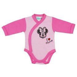 Disney Minnie lányka hosszú ujjú kombidressz elöl patentos rózsaszín