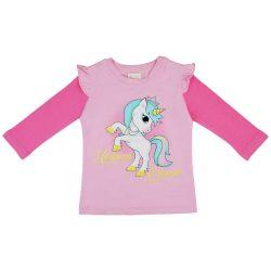Unicorn Queen Unikornis hosszú ujjú fodros vállú lányka póló