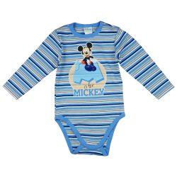 Disney Mickey hosszú ujjú baba body kék
