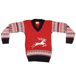 Fiú V-nyakú kötött pulóver Norvég mintás (TUR)