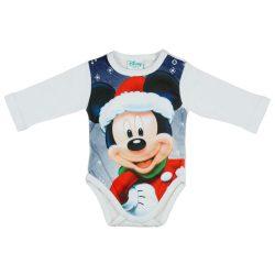Disney Mickey Mikulás mintás hosszú ujjú karácsonyi body| kombidressz fehér