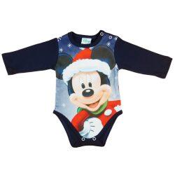 Disney Mickey Mikulás mintás hosszú ujjú karácsonyi body| kombidressz kék