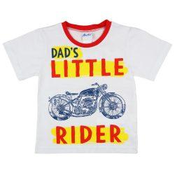 Motoros kisfiú fehér pamut póló