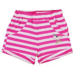Unikornis kislány fehér-pink csíkos rövidnadrág