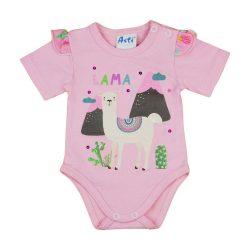 Láma mintás  fodros kislány baba body (kombidressz) rózsaszín