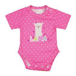 Láma mintás kislány baba body (kombidressz) rózsaszín