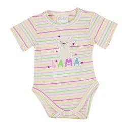 Láma mintás kislány baba body (kombidressz) fehér