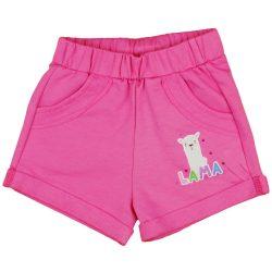 Pink| pamut kislány rövidnadrág Láma mintával