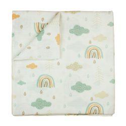 Tetra textil baba kifogó 150x150 cm - erdő mintás