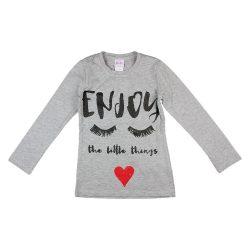 """""""Enjoy"""" feliratos hosszú ujjú lányka póló"""