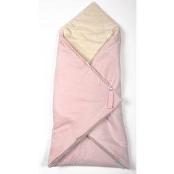 Rózsaszín pöttyös 2in1 pólya és takaró