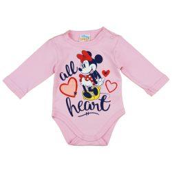 Disney Minnie hosszú ujjú vállon patentos baba body rózsaszín