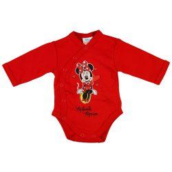 Disney Minnie szívecskés hosszú ujjú baba body piros