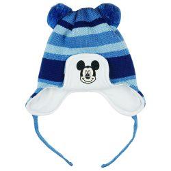Disney Mickey csíkos| kötött| bélelt| bojtos sapka