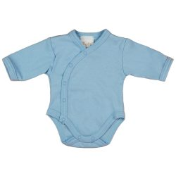 Egyszínű| hosszú ujjú elöl patentos baba body kék