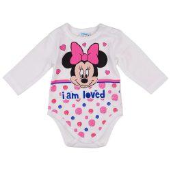 Disney Minnie szívecskés| pöttyös hosszú ujjú baba body fehér