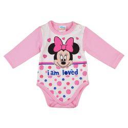 Disney Minnie szívecskés| pöttyös hosszú ujjú baba body rózsaszín