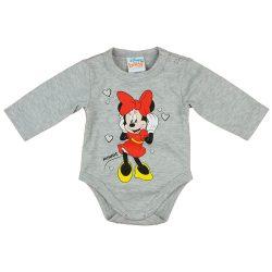 Disney Minnie szivecskés hosszú ujjú baba body szürke