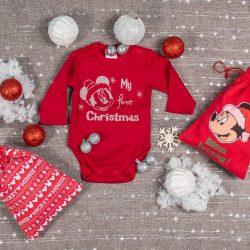 "Disney Minnie ""My first Christmas"" feliratos hosszú ujjú karácsonyi baba body|kombidressz piros"