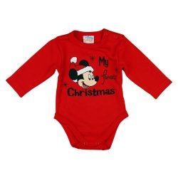 "Disney Mickey ""My first christmas"" feliratos karácsonyi baba body piros"
