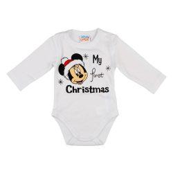 "Disney Minnie ""My first christmas"" feliratos karácsonyi hosszú ujjú baba body fehér"