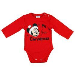 """Disney Minnie """"My first christmas"""" feliratos karácsonyi hosszú ujjú baba body piros"""