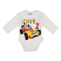 Disney Mickey autós hosszú ujjú baba body fehér