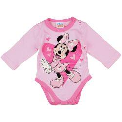 Disney Minnie szívecskés hosszú ujjú baba body rózsaszín