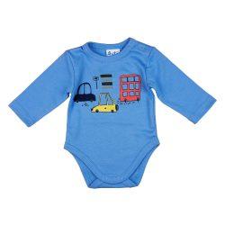 Autós hosszú ujjú baba body kék