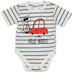 Autós rövid ujjú baba body krém