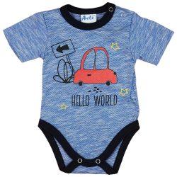 Autós rövid ujjú baba body kék