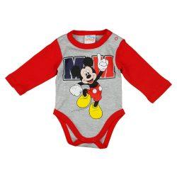 Disney Mickey hosszú ujjú baba body szürke