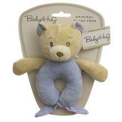 Baby Hug Plüss csörgő - kék maci - 15 cm