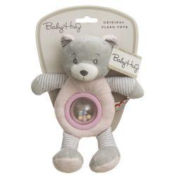 Baby Hug Plüss csörgő - rózsaszín-szürke maci - 23 cm