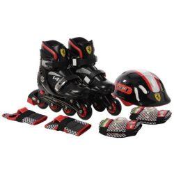 Chipolino Ferrari görkorcsolya + biztonsági szett 32-36 méret - fekete !! Kifutó !!