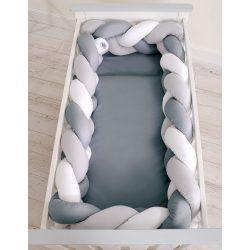 BabyLion Prémium Fonott rácsvédő XXL - Sötétszürke-fehér-szürke