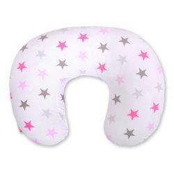 BabyLion Prémium Etető párna - Rózsaszín nagy csillagok