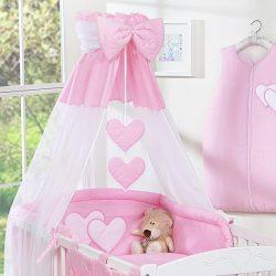 BabyLion Prémium baldachin - Rózsaszín szivecskékkel