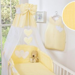 BabyLion Prémium baldachin - Sárga csíkos - szivecskékkel