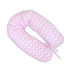 BabyLion Prémium szoptatós párna - Rózsaszín - fehér cikk-cakk