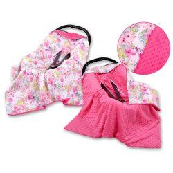 BabyLion Prémium univerzális takaró Minky - Rózsaszín virágok és kolibrik