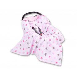 BabyLion Prémium univerzális takaró - Rózsaszín csillagok ( Szürke belsővel!! )