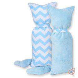 BabyLion Prémium ölelő cica - Kék cikk-cakk