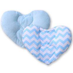 BabyLion Prémium Szív párna - Kék cikk-cakk