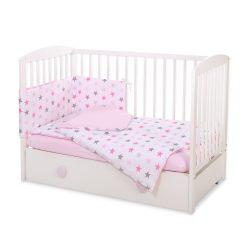 BabyLion Prémium 3 részes ágynemű szett - Rózsaszín csillagok
