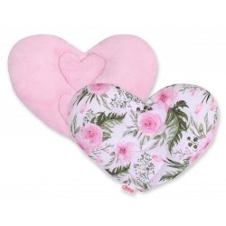 BabyLion Prémium Szív párna - Virágok - Rózsaszín